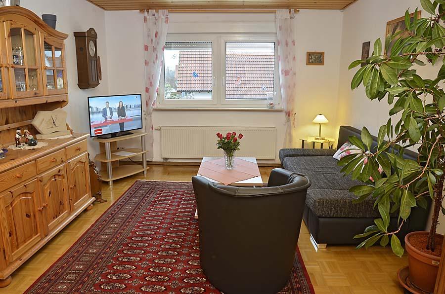 Wohnzimmer mit gemütlichem Sitzbereich und Flachbildschirm-TV